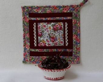 Potholder Roses and Cherries in Ruby and Lace