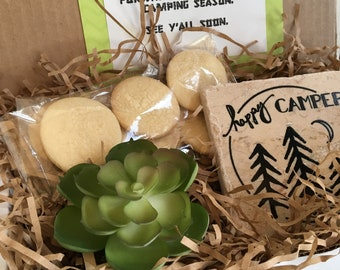 Gift Box, Camping Theme Gift, Thinking of You Gift, Happy Birthday Gifts, Food Gift Box, Sugar Cookies, Bridesmaid Gift,  Faux Succulent