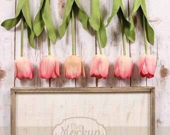 Vertical   Tulips Mockup   Mockup   Beige Frame   Pink & peach Flowers, Green Leaves