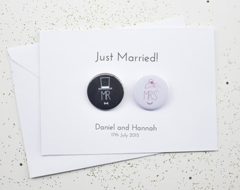 Wedding Card with Badges - Just Married / Mr and Mrs / Congratulations  - Personalised