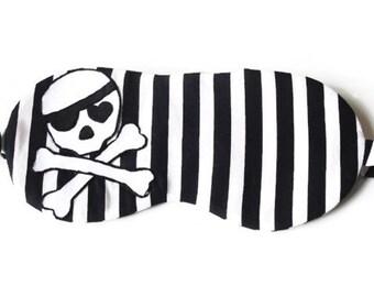 Skull Sleeping Mask, Pirate Mask, Striped Blindfold, Halloween Sleep Mask, Skull and Crossbones, MADE TO ORDER