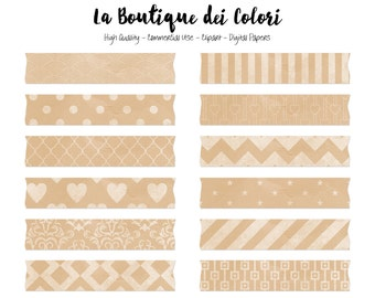 Kraft Paper Digital Washi Tape Clipart, Cute Brown Paper Clip art Frame, Label, Banner, Tag Scrapbook Personal - Commercial Use