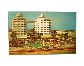 "Vintage 1968 3.5"" x 5.5"" Glossy Postcard Miami Beach Florida Sherry Frontenac Hotel"