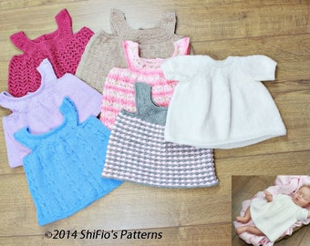 KNITTING PATTERN For a Baby Dress & 6 Baby Pinafore PDF 290 Digital Download