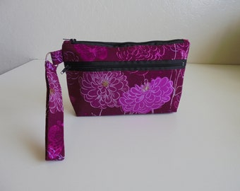 Butterfly Purple Floral, Wristlet, Cell phone Bag, Zippered pocket, clutch, coin purse, fabric bag, iphone, android, credit card pockets