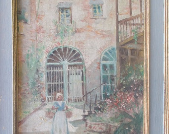 Charming Old Oil painting Caribbean Village artist signed