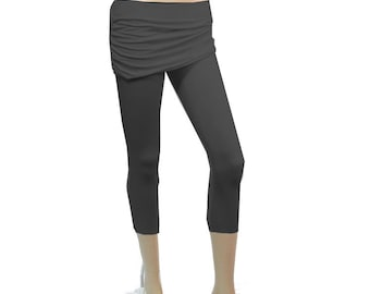 Plus Size Cropped Skirted Leggings - Yoga Cropped Pants - Choice of Ruched or Straight- Handmade Hand Dyed Bamboo/Organic Cotton -XL thru 8X