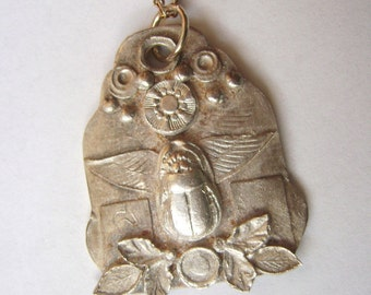 new fine silver scarab amulet necklace