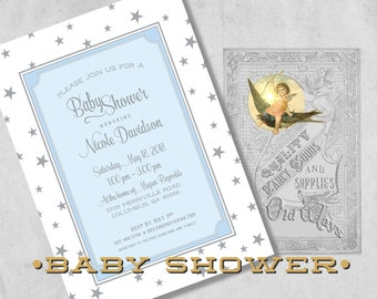 Star Baby Shower Invitations for a Boy in Blue and Silver Grey - Custom Star Theme Baby Boy Shower Invitations - Printed
