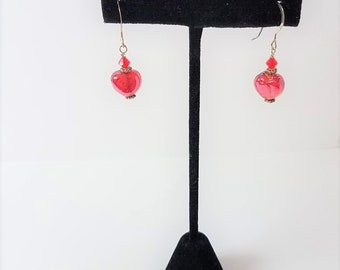 Earrings Red Glass Hearts & Sterling Silver