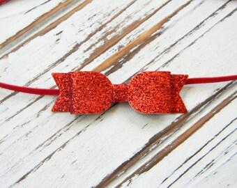 Red Glitter Bow Headband, Infant Headband, Baby Headband, Bow Headband, Red Bow Headband
