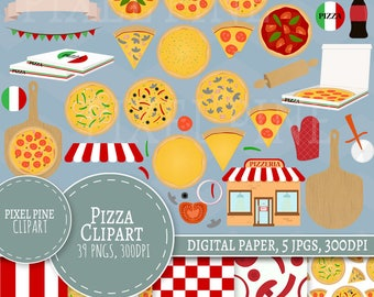 Pizza Clipart Set, 39 PNGs, 5 Pizza Party Digital Paper JPGs, Commercial Use, Pizza clipart, Build your own pizza clipart, clipart pizza png