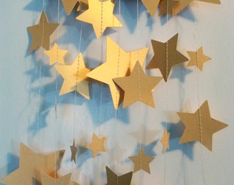 Gold Star Garland Shimmer Metallic Paper | Mixed Sizes | Home or Office Decor