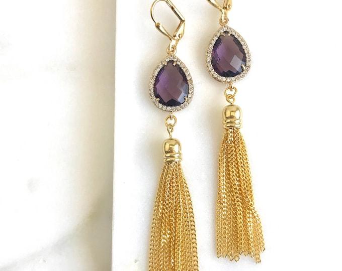 Fancy Amethyst Purple and Gold Tassel Earrings.  Fancy Long Tassel Earrings.  Gold Statememt Earrings. Modern Jewelry. Statement Earrings.