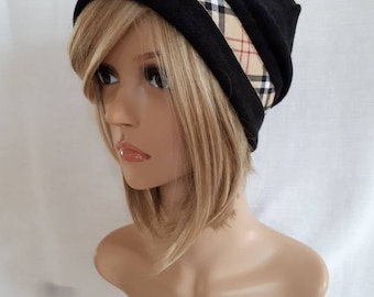 Hat mesh knit, stylish hat, plaid hat Black Hat