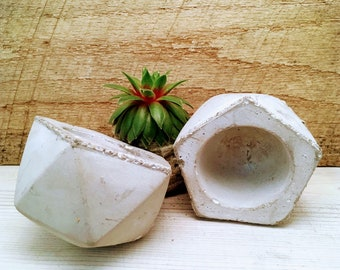 Concrete Octogon Cement Planter, Gift for succulent lover, gift under 10