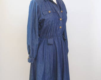 Vintage Dress 70s Denim Shirtdress Midi Dress Long Sleeve Denim Button Up Chambray Shirt Dress S M
