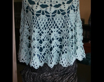 Crochet Poncho, crochet cape, crochet shawl, crochet jacket, crochet capelet - Tempest Capelet - Cotton - Aqua - in Stock