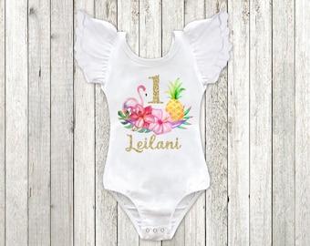 Luau Birthday Shirt Tropical 1st Birthday Outfit Pineapple Birthday Leotard Flamingo Second Birthday First Birthday Shirt, Squishy Cheeks