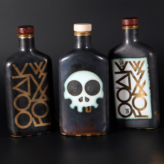 OOAK Forge Ceramic Flask