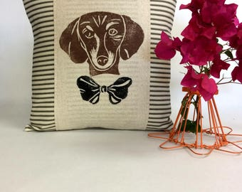 Dachshund Decorative Pillow - Dachshund Print Decorative Pillow, Doxie Face Print, Dachshund Dog Hand Block Print, Pet Portrait
