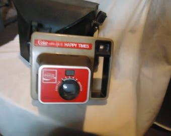 Vintage Coca Cola Eastman Kodak Polaroid Camera w Case Happy Times, collectable