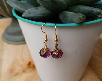 Purple Czech Glass Leaf Earrings
