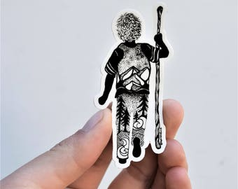 "Little Hiker Boy 3"" Weatherproof and durable, Outdoor sticker, Travel sticker, Wanderlust, Galaxy, Moon sticker, Backpacking, Hiking"