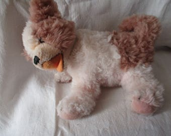 Old STEIFF dog plush, badges and pennant in playing position, head jointed 20 cm ref: 5040/20