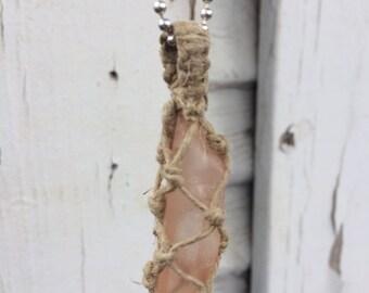 Hematite Quartz Macrame Hemp Wrap