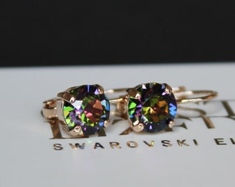 Rose Gold Plated Leverback Vitrail Medium Earrings made with Swarovski Crystal Elements by LacyCJewellery