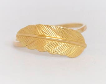 14k Gold Feather Ring, Wedding Feather Ring, 14k Solid Gold Feather Ring ,14k Gold unisex Ring, Feather Ring