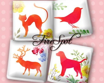 Cat Dog Bird Horse Deer  Animal - Digital Collage Sheet 1.5 inch 1 inch 25 mm 20 mm Squares Instant Download Glass Pendants Scrapbooking