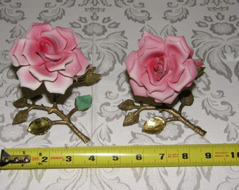 A Set of Vintage Capodimonte Porcelain Pink Roses On Gold Colored Metal Branch Stands
