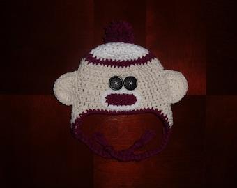 Sock Monkey Beanie with Earflaps