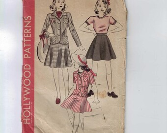 1940s Vintage Sewing Pattern Hollywood 722 Girls Two Piece Suit Skirt Jacket 1940s Size 6 Breast 24 1940s 40s
