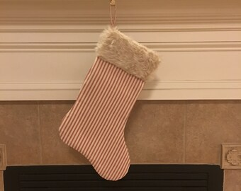 Classic Christmas Stocking, Red Ticking and Faux Fur Stocking