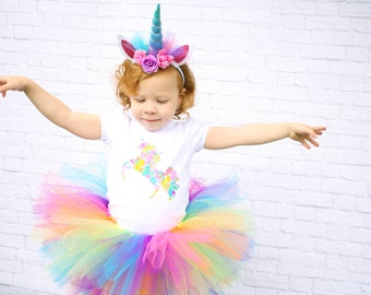 PREMIUM Unicorn Birthday Outfit - Unicorn 1st Birthday Outfit - Unicorn First Birthday Outfit - Rainbow Unicorn Tutu - Girls Unicorn Costume