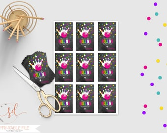 Bowling Party Favor Tag, Bowling Birthday Party Decor, Thank You Tags, Gift Tag, Chalkboard, Thanks for Rolling By, Strike, Pins Digital