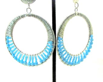 Vintage Wire & Beaded Southwest Hoop Earrings
