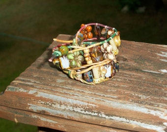 Double Wrap Bracelet With Picasso Beads On Leather With Flower Button