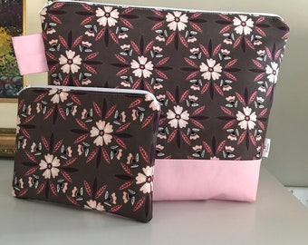 Medium Dusty Rose Wedgetote with matching Notions Pouch
