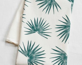 Tea Towel - Organic Cotton - Fan Palm - Screen Printed - Unpaper Towel - Flour Sack Towel - Tropical Decor - Palm Tree - Kitchen Towels
