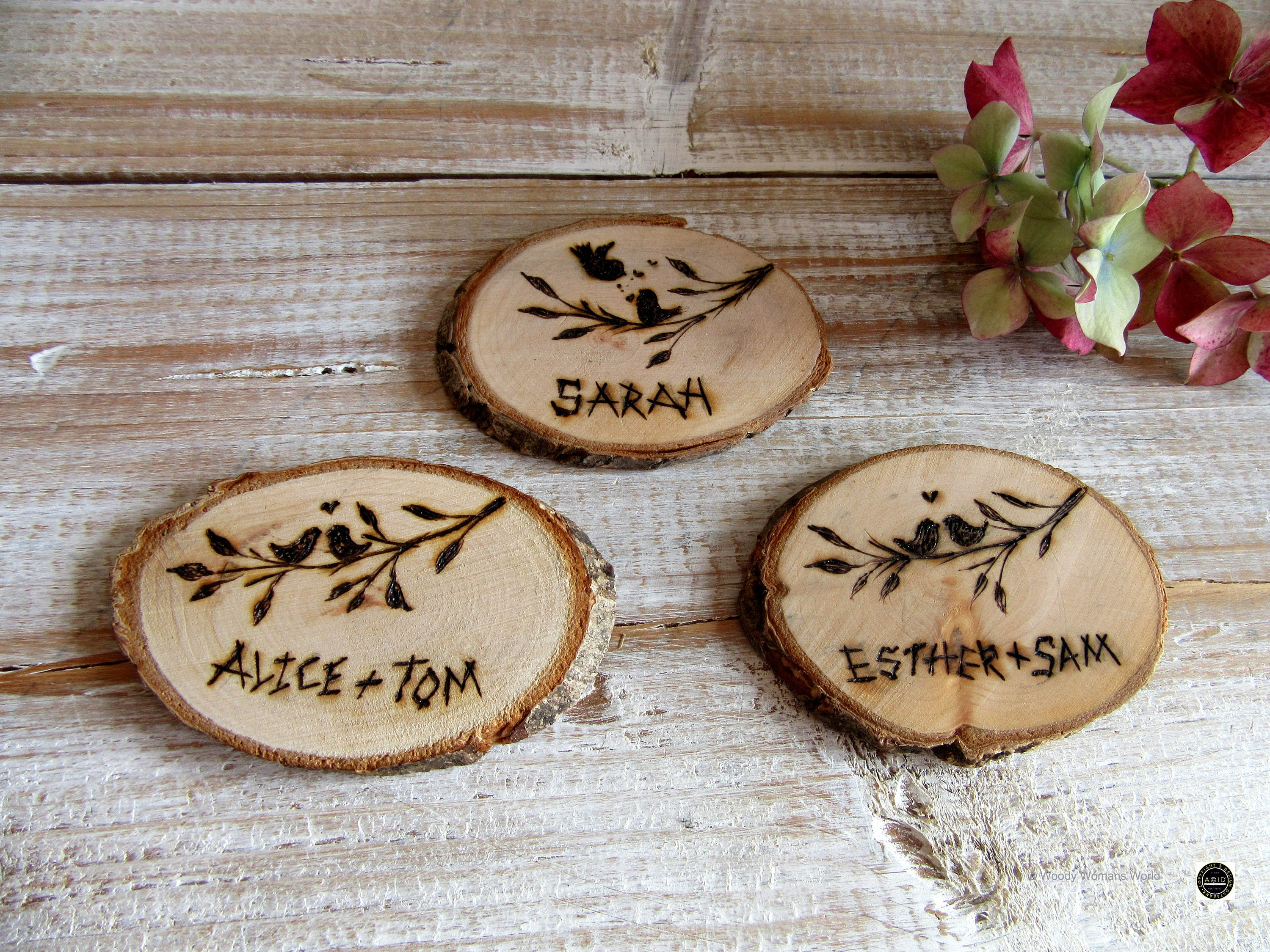 Wooden wedding Slices * place names - name cards - Personalised ...