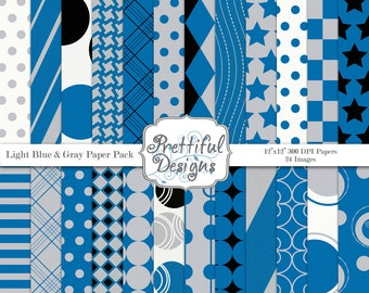 Blue Gray and Black Digital Paper Pack