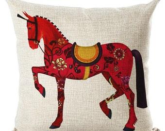 Renaissance Horse Throw Pillow  Cushion Cover Beige  Pillow  Decorative Bed Couch Pillow