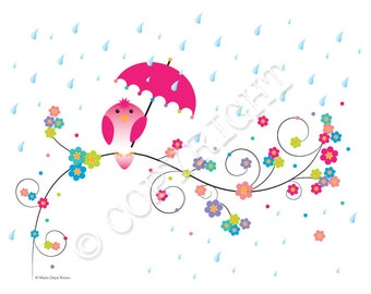 "Spring Showers Bird umbrella -- 8"" x 10 illustration FREE SHIPPING"