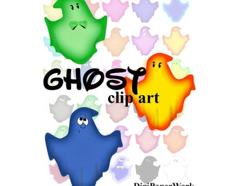 Halloween ClipArt Ghost Digital clip art Instant Download Colorful clipart Halloween Scrapbooking Elements