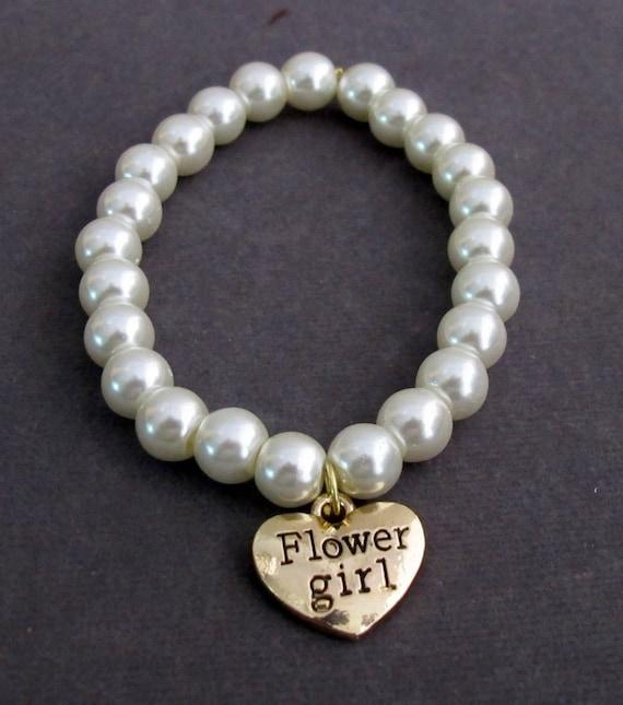 Gold Flower Girl Bracelet,Gold Flower girl charm, Flower girl bracelet  Wedding gift, ,Girls Jewelry,Child Bracelet,Free Shipping USA