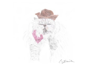 "Kitty Cat Cowgirl Color Pencil Drawing Mother's Day Gift Birthday Present Cat Lovers Original Hand Drawn Art 8.5"" x 11"" Print CatDKnits"